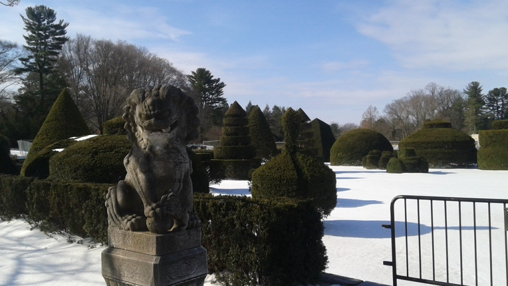 Winter scene with topiary in Longwood Gardens